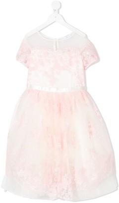 MonnaLisa Beaded Floral Tulle Dress