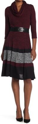 Robbie Bee Cowlneck 3/4 Sleeve Dress