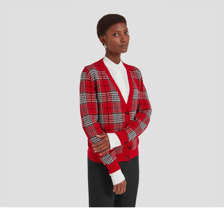 Mulberry Fay Cardigan Scarlet Check Viscose Stretch