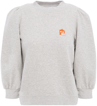 Ganni Embroidered Melange Cotton-fleece Sweatshirt