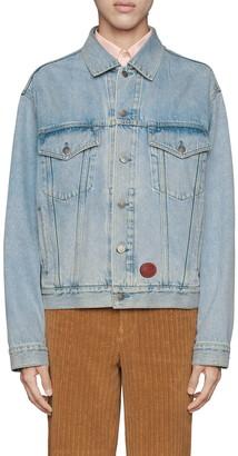 Gucci Logo Leather Patch Washed Denim Jacket