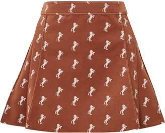 Chloé Embroidered Cotton-blend Velvet Mini Skirt
