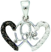 DazzlingRock Collection 0.22 Carat (ctw) 14k White Gold & White Diamond Ladies Double Heart Pendant