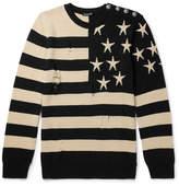 Balmain Distressed Intarsia Linen Sweater