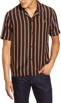 Fred Perry Stripe Short Sleeve Button-Up Bowling Shirt