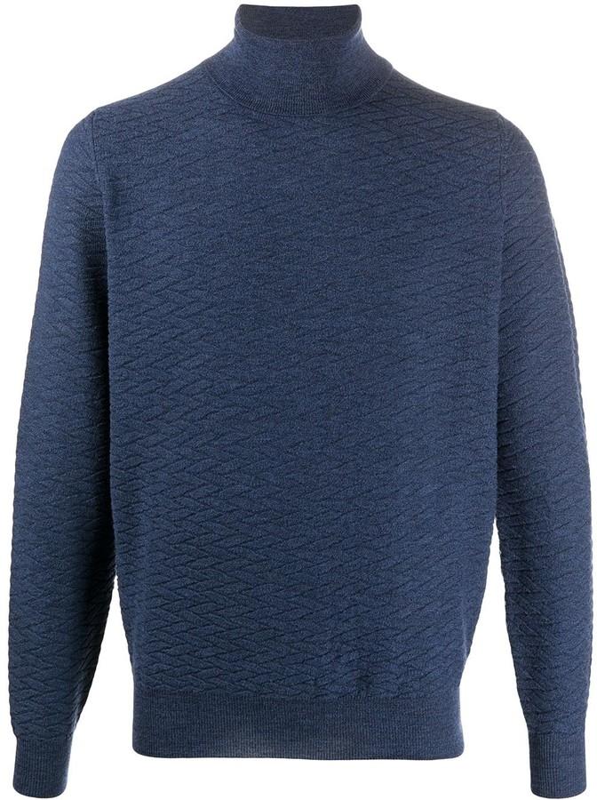 Dark BlueNavy x Suede Trim High neck Turtle Neck SweaterJumper form 90/'sMinimal