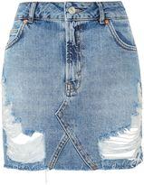 Topshop MOTO Rip Denim Mini Skirt