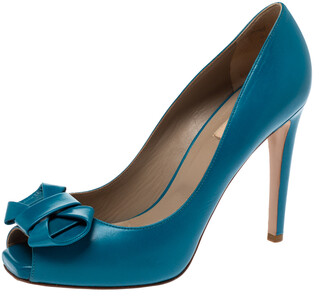 Valentino Blue Leather Bow Detail Peep Toe Pumps Size 40