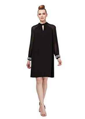SL Fashions Women's Long-Sleeve Chiffon Cocktail Dress (Petite and Regular)
