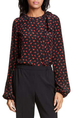 N°21 N21 N?21 Candy Apple Print Tie Neck Silk Blouse