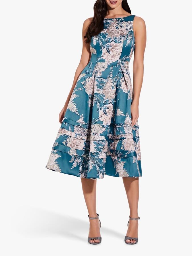 Adrianna Papell Jacquard Floral Print Flared Midi Dress, Teal/Multi