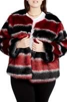 Rachel Roy Stripe Faux Fur Coat
