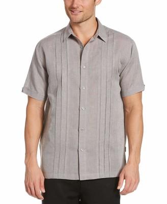 Cubavera Linen-Blend Cross Dye Multi-Tuck Shirt