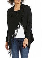 Elan ELAN Criss-Cross Hi-Low Button-Shoulder Fringe Sweater