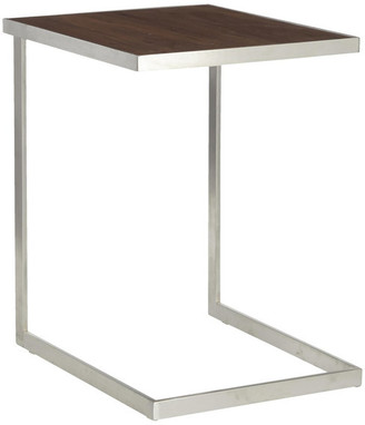 Lumisource Industrial Zenn End Table, Stainless Steel and Walnut Wood