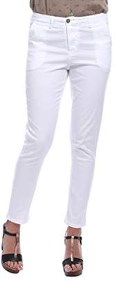 Isabella Collection Roma Women Pantalone Chino in Cotone Bianco Trousers,Size M