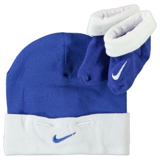 Nike Two Piece Infant Booties & Beanie Set Royal Blue White 0-6 Months Baby boy/Girl