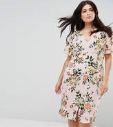 Closet London Plus Floral Print Dress With Frill Sleeve