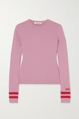 Valentino Intarsia Ribbed-knit Sweater - Pink