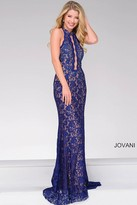 Jovani High Neck Lace Beaded Halter Top Dress 45169
