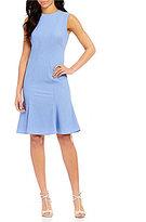 Calvin Klein Round Neck Sleeveless Flounce Hem Denim Dress