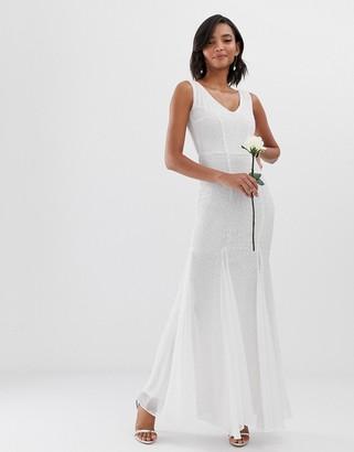 City Goddess bridal fishtail maxi dress-White