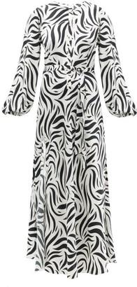 Issimo X Loretta Caponi - Belted Zebra-print Silk-charmeuse Dress - Animal