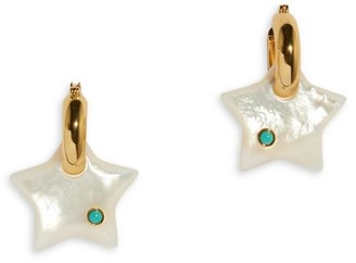 Lizzie Fortunato 18K Goldplated, Mother-Of-Pearl & Turquoise Jumelle Star Charm Hoop Earrings