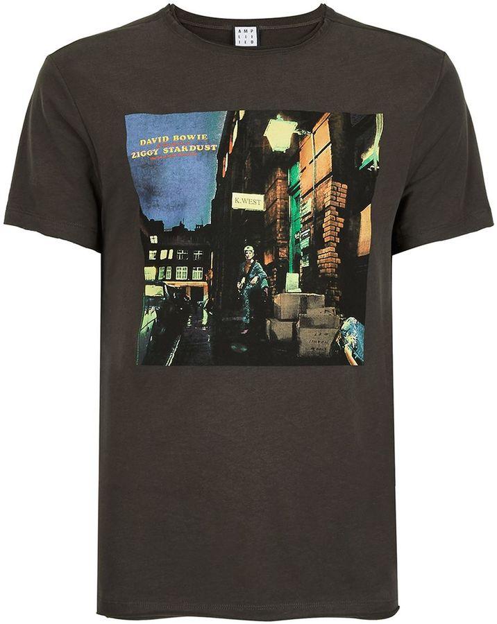 Amplified Washed Grey David Bowie Photo Print T-Shirt*