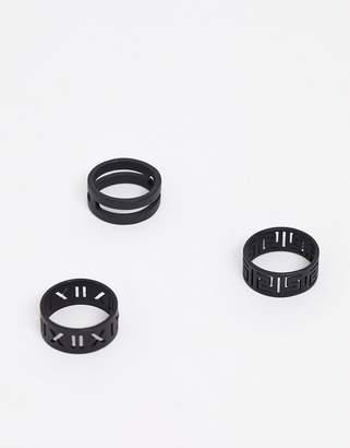 Asos Design DESIGN ring pack in matte black emboss