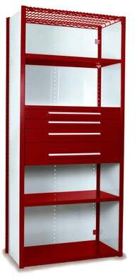 """Equipto V-Grip 84"""" Shelving with Drawers Unit - 4Drw/5Shelf Closed Starter, 4 drawers - (2) 3"""", 4.5"""" & 7.5"""" H; 200 lb capacity Equipto Finish: Textured Red,"""