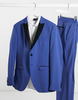 Selected blue skinny fit tuxedo suit jacket