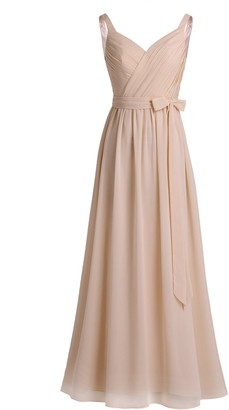 Freebily Womens Elegant V-Neck Chiffon Wedding Bridesmaid Evening Prom Ball Gown Tulle Pleated Long Dress with Sash Blush 6