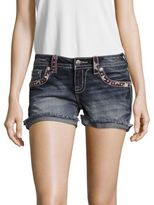 Miss Me Americana Embroidered Denim Shorts