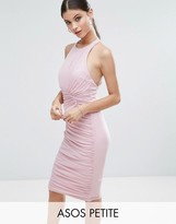 Asos Mesh Ruched Curved Seam Detail Dress