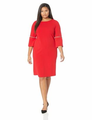Calvin Klein Women's Size Solid Sheath with Detailed Split Sleeve Dress