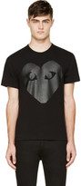Comme des Garcons Black and Carbon Glossy Heart Logo T-Shirt
