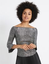 Marks and Spencer Sparkly Flared Sleeve Bardot Top