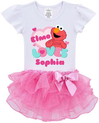 Sesame Street Tv's Toy Box TV's Toy Box Tee Shirts Pink/White Elmo Personalized Tutu Tee - Toddler & Kids