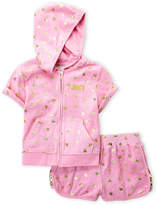 Juicy Couture Girls 7-16) Two-Piece Metallic Heart Zip-Up Hoodie & Terry Shorts Set