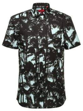HUGO Extra-slim-fit short-sleeved shirt in printed cotton