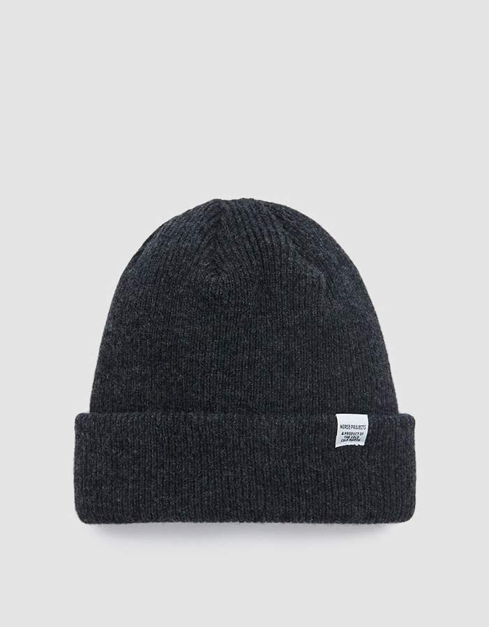Norse Projects Norse Beanie in Charcoal Melange