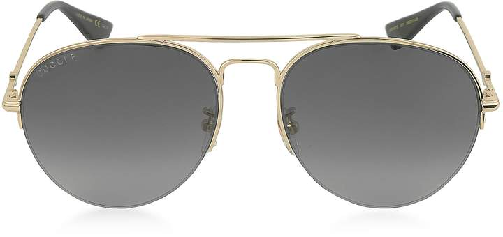 Gucci GG0107S 001 Gold Metal Aviator Men's Polarized Sunglasses