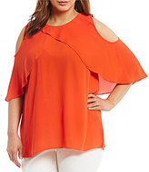Vince Camuto Plus Ruffled Cold-Shoulder Blouse