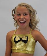 Gold Sequin Bow Crisscross-Back Sports Bra - Girls