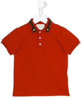 Gucci Kids - GG Web bee collar polo shirt - kids - Cotton/Spandex/Elastane - 5 yrs