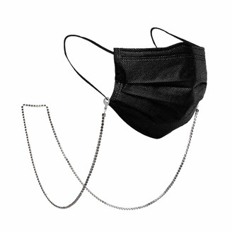 Likgreat Face Mask Chains Black Crystal Iced Out Chain Sunglasses Lanyard Jewelry Neck Holder for WomenSilver Tone