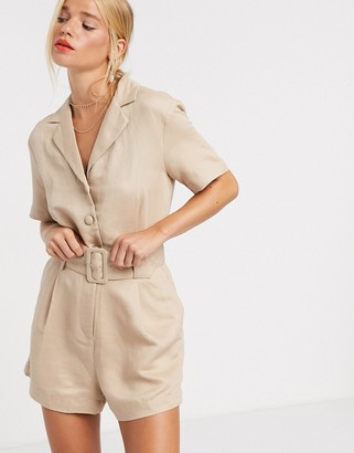 And other stories & belted utility playsuit in beige