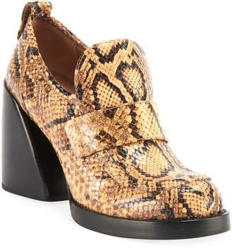 Chloé Adelie Python-Embossed Loafer Booties