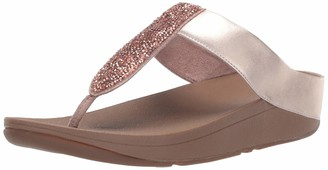 FitFlop Women's SPARKLIE Crystal Toe Post Flip-Flop Rose Gold 5 M US